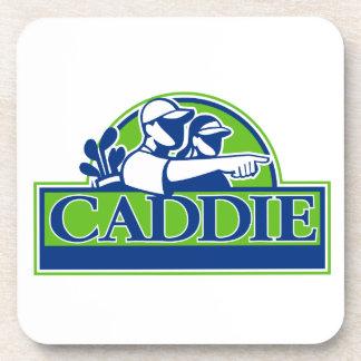 Porta-copo Jogador de golfe profissional e Caddie retros