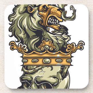 Porta-copo leão do vintage no crânio inoperante