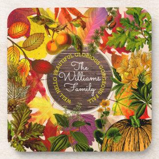 Porta-copo Madeira do vintage da colagem das folhas de outono