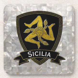 Porta-copo Madrepérola preta siciliano do ouro de Trinacria