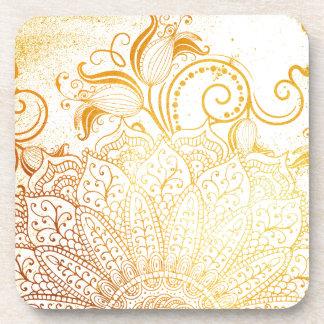 Porta-copo Mandala - escova dourada