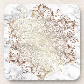 Porta-copo Mandala - ouro & mármore