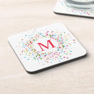 Porta-copo Monograma colorido dos confetes que Wedding a