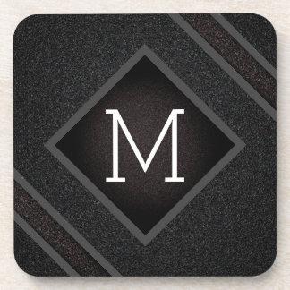 Porta-copo Monograma de pedra preto corajoso moderno da