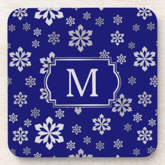 Porta-copo Monograma de prata do floco de neve em azuis