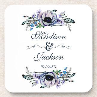 Porta-copo Monograma floral chique do casamento da hortelã &