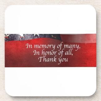 Porta-copo Na memória de muitos em honra de todo o obrigado