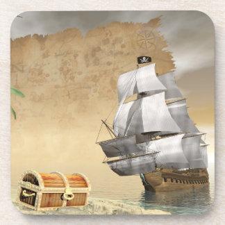 Porta-copo Navio de pirata que encontra o tesouro - 3D rendem