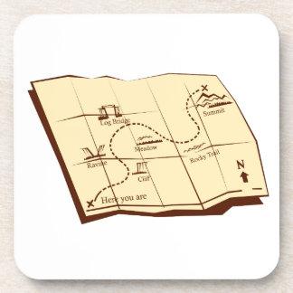 Porta-copo O mapa da fuga com X marca o Woodcut do ponto