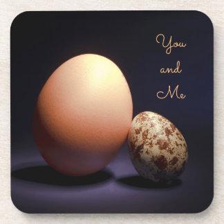 """Porta-copo Ovos da galinha e de codorniz no amor. Texto """"você"""