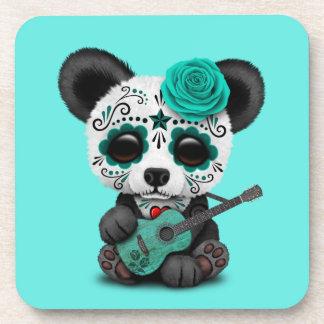 Porta-copo Panda azul do crânio do açúcar que joga a guitarra