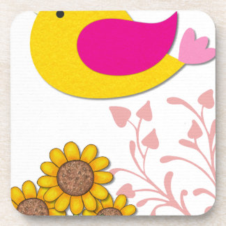 Porta-copo pássaro floral, arte, design, bonito, novo, forma