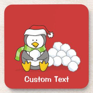 Porta-copo Pinguim do Natal que senta com bolas A da neve