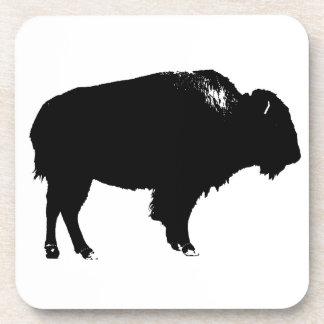 Porta-copo Pop art preto & branco da silhueta do búfalo do