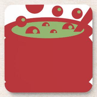 Porta-copo Pote vermelho e verde do cozinhar