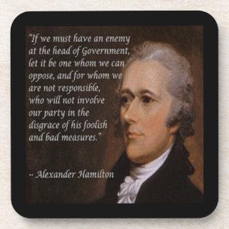 """Porta-copo """"Presente do líder inimigo"""" de Alexander Hamilton"""