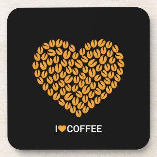 Porta-copo Preto bonito e Brown eu amo o café do coração do
