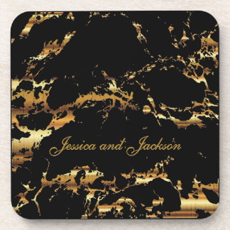 Porta-copo Preto e design do mármore do ouro