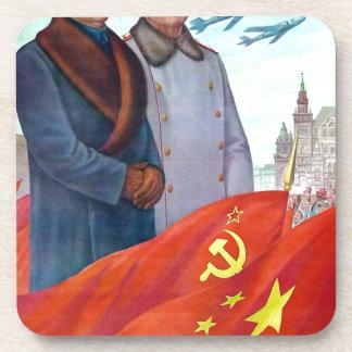 Porta-copo Propaganda original Mao Zedong e Josef Stalin