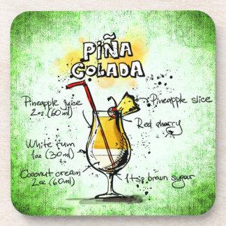 Porta-copo Receita da bebida de Pina Colada