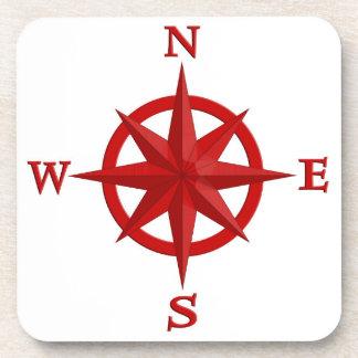 Porta-copo rosa de compasso 8-Point, vermelho escuro e branco