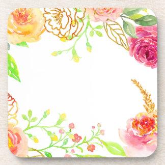 Porta-copo Rosa do rosa da aguarela com quadro da folha de