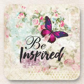 Porta-copo Seja citações inspiradas & colagem cor-de-rosa do