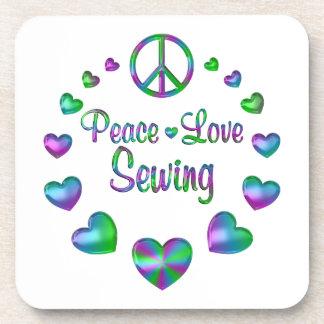 Porta-copo Sewing do amor da paz