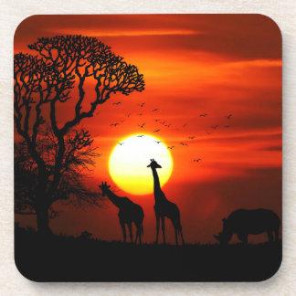 Porta-copo Silhuetas africanas do animal do por do sol do