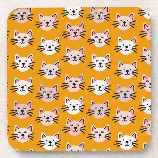 Porta-copo Teste padrão bonito do gato na mostarda amarela