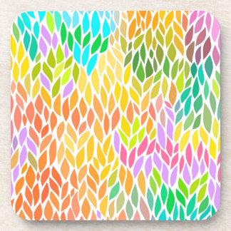 Porta-copo Teste padrão colorido bonito das folhas