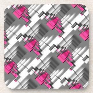 Porta-copo Teste padrão geométrico cor-de-rosa do cinza e o