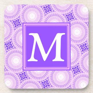 Porta-copo Teste padrão roxo dos círculos do monograma