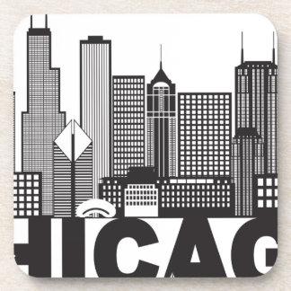 Porta-copo Texto da skyline da cidade de Chicago preto e