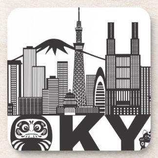 Porta-copo Texto da skyline da cidade de Tokyo preto e branco