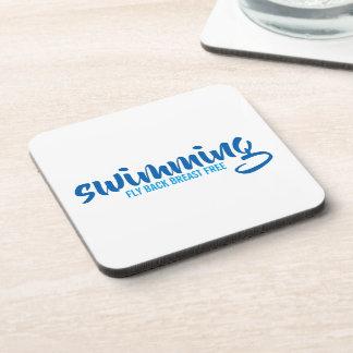Porta-copo Texto tipográfico nadador do peito da mosca para