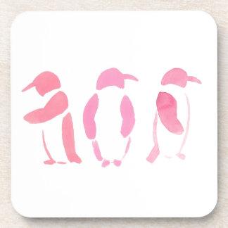Porta-copo Trio cor-de-rosa do pinguim