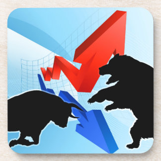 Porta-copo Ursos contra o conceito do mercado de valores de