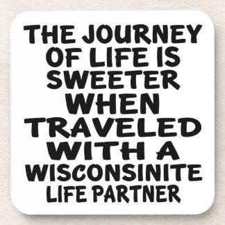 Porta-copo Viajado com um sócio da vida de Wisconsinite