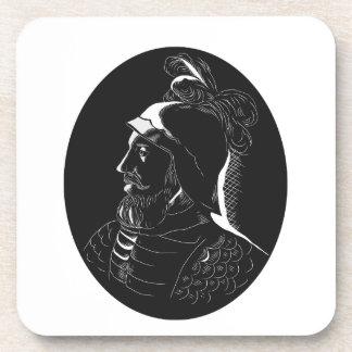Porta-copo Woodcut de Vasco Nún ez de Balboa Conquistador