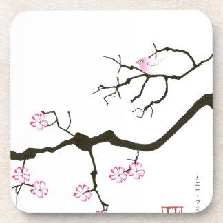 Porta Copos 7 flores com pássaro cor-de-rosa, fernandes tony