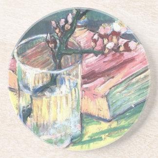 Porta-copos A amêndoa de florescência ramifica em um vidro e e