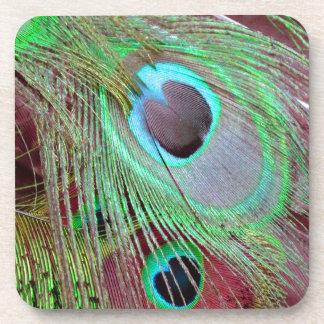 Porta Copos A pena de fluxo do pavão dos olhos azuis
