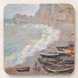 Porta-copos A praia em Etretat - Claude Monet