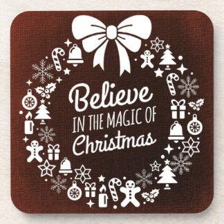 Porta Copos Acredite na mágica do Natal