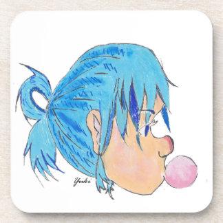 Porta-copos Adolescente fundindo uma bolha com goma