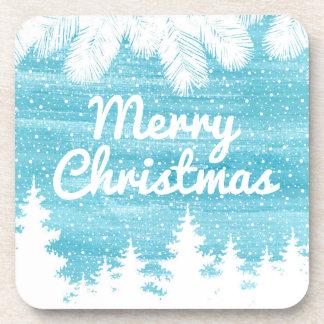 Porta Copos Aguarela do Natal | - pinheiros da neve
