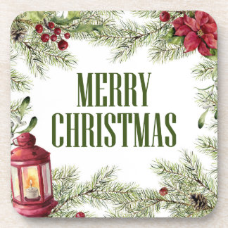 Porta-copos Aguarela do Natal | - quadro do azevinho & da vela