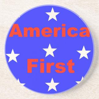 """Porta-copos """"América vermelha, branca, e azul primeiramente"""""""