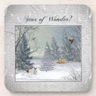 Porta-copos Animais na floresta do inverno, árvore com